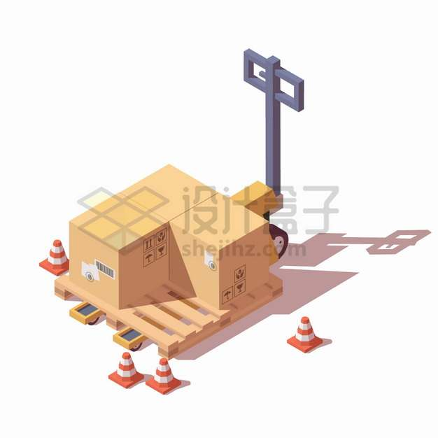2.5D风格手动液压叉车搬运车上的木制托盘和纸箱子png图片素材