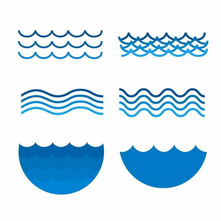 6款蓝色线条波浪图案png图片免抠矢量素材