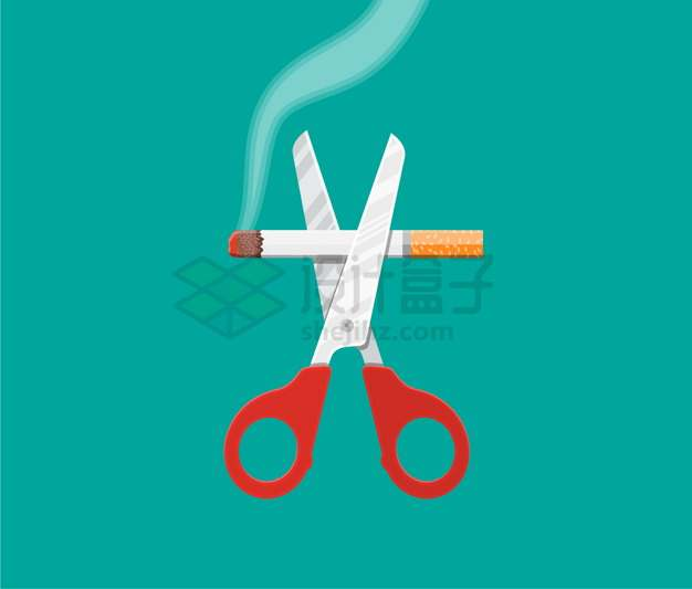 一把剪刀剪断香烟戒烟吸烟有害健康禁止吸烟png图片素材
