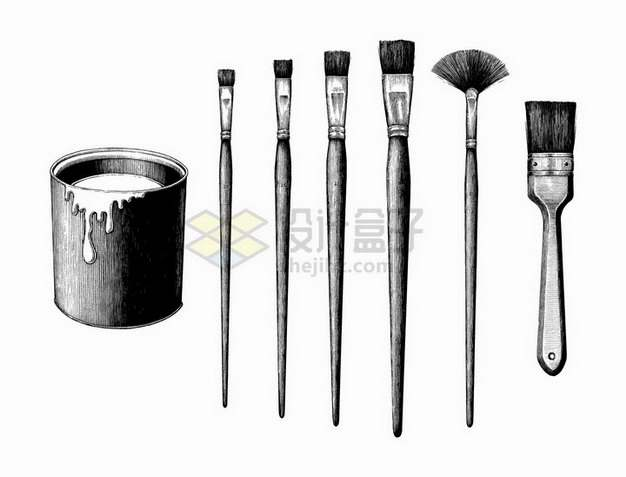颜料桶和各种刷子笔刷手绘素描插画png图片免抠矢量素材