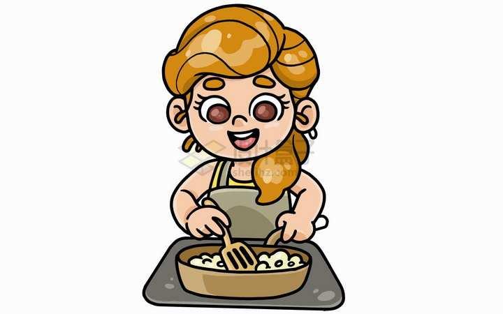 正在烹饪做菜的卡通妈妈儿童插画png图片免抠矢量素材
