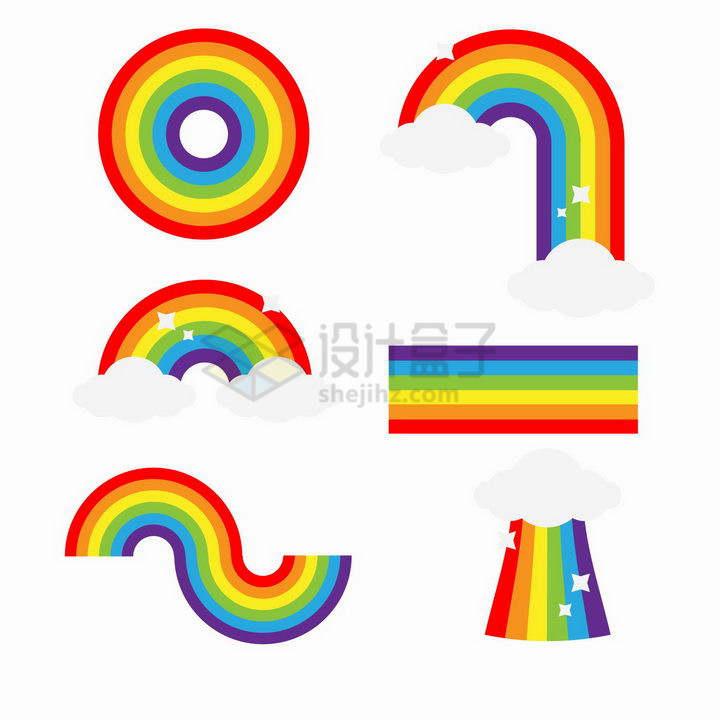 6款七彩虹圆形长方形等形状png图片免抠矢量素材