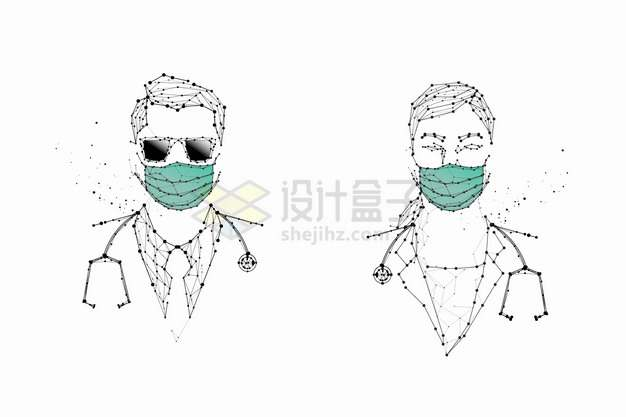 戴口罩的点线组成的医生png图片素材