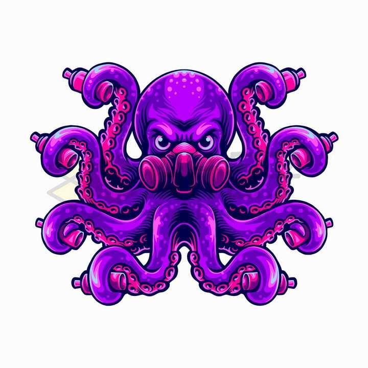 紫色的章鱼怪戴着防毒面具抽象插画png图片免抠矢量素材
