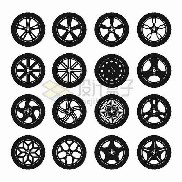 16款黑色轮胎侧面图剪影图案png图片免抠矢量素材