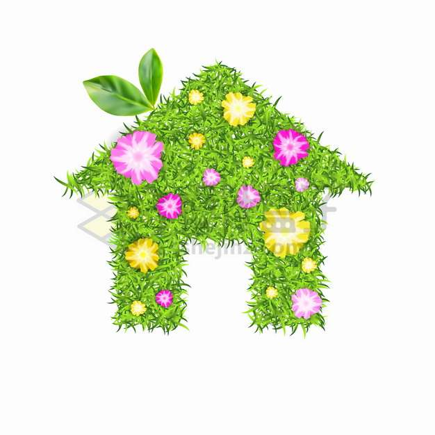 绿色青草草坪鲜花组成的房子家的标志png图片素材