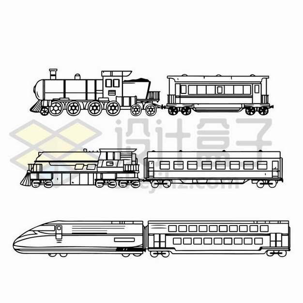 3款线条蒸汽火车头和列车高铁侧视图png图片免抠矢量素材
