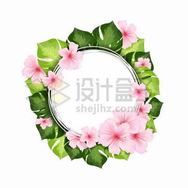 龟背竹花朵和叶子组成的圆形标题框文本框png图片免抠矢量素材