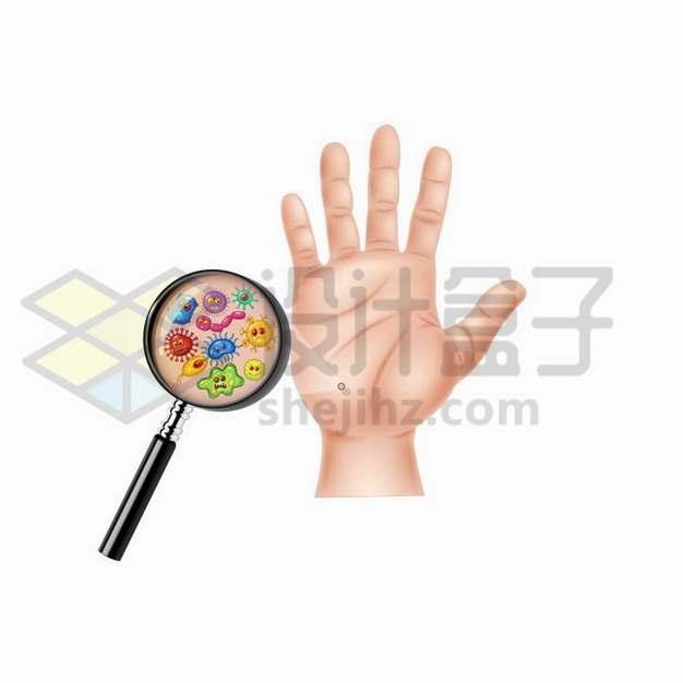 张开手掌上放大镜显微镜下的细菌细胞png图片免抠矢量素材
