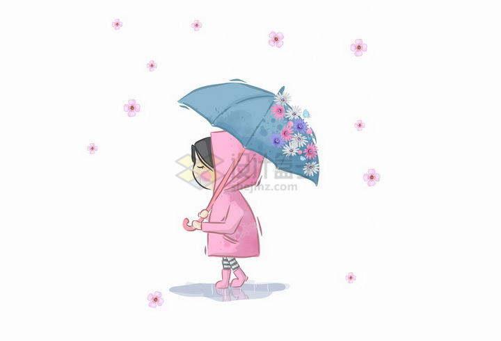卡通打着花伞的小女孩png图片免抠矢量素材