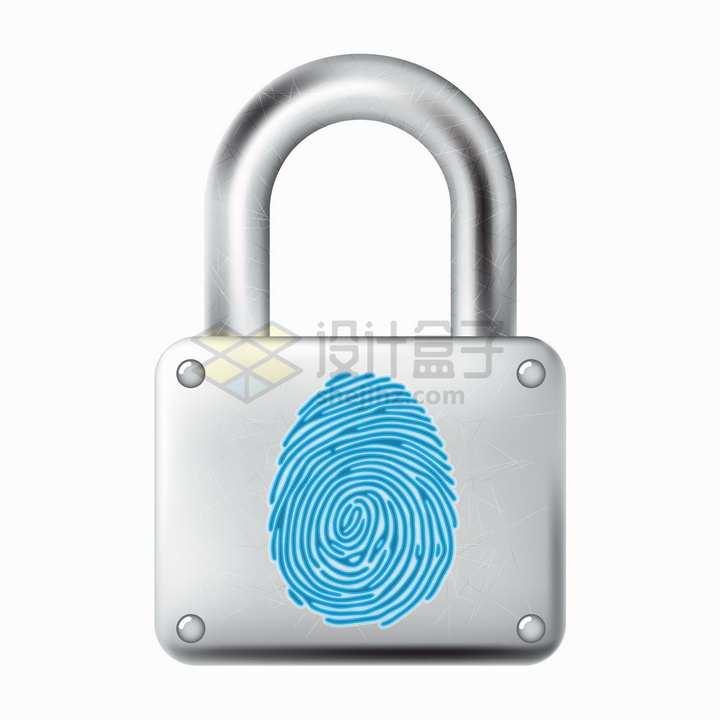 银灰色挂锁上的指纹象征了指纹识别技术png图片免抠矢量素材