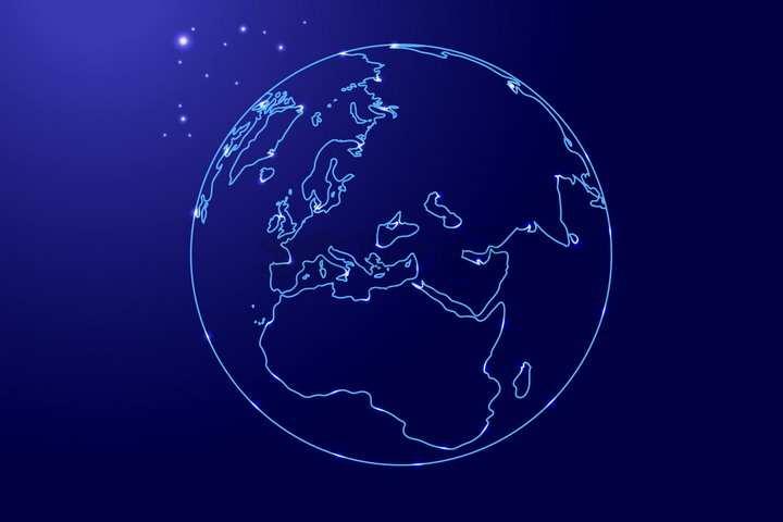 发光蓝色线条勾勒的地球png图片免抠矢量素材