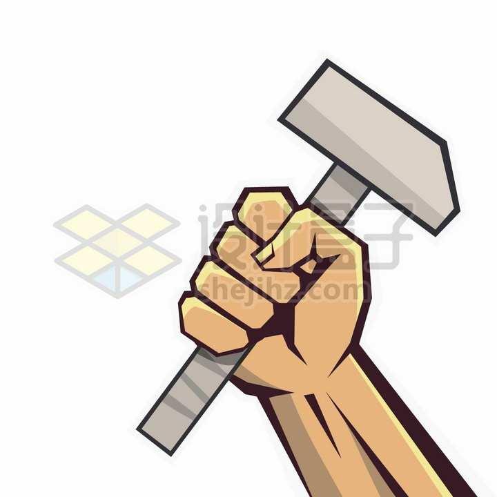 卡通漫画风格有力的拳头拿着榔头五一劳动节png图片免抠矢量素材