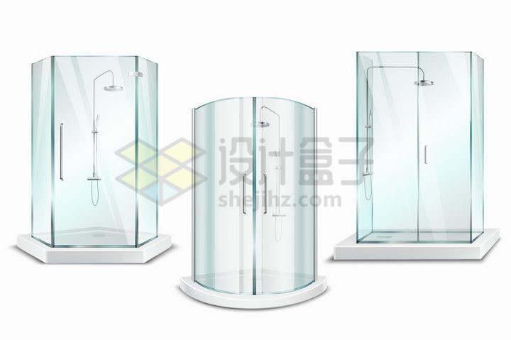 3款不同形状的玻璃淋浴间png图片免抠矢量素材