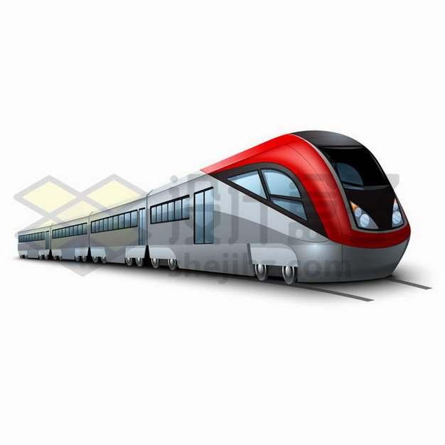 行驶在铁路上的动车列车高铁png图片免抠矢量素材