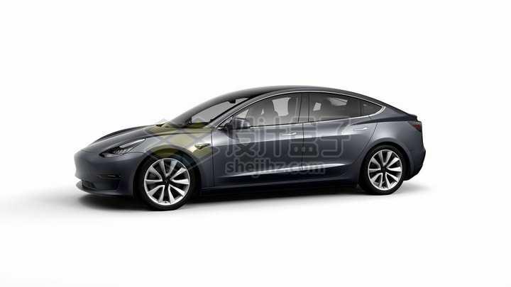 黑色特斯拉Model 3电动汽车侧面图png图片素材