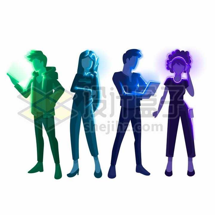 站着看手机笔记本电脑打电话的年轻人发光插画png图片免抠矢量素材