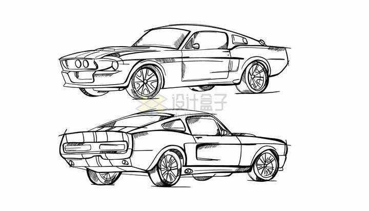 跑车汽车素描铅笔画png图片素材