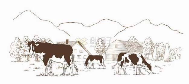 乡村复古素描奶牛场农场风景图png图片免抠矢量素材