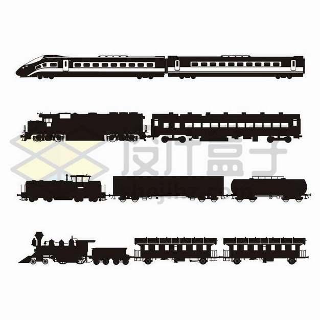 4款高铁列车和火车侧视图剪影png图片免抠矢量素材