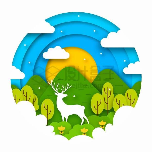 蓝天白云大山梅花鹿森林剪纸叠加风格风景png图片素材