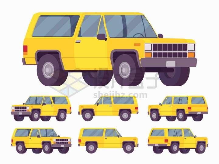 6个不同角度的卡通黄色越野车png图片免抠矢量素材