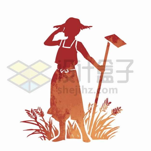 拿着锄头的农民人物剪影png图片素材