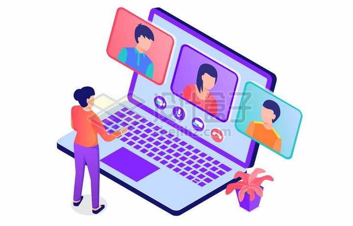 2.5D风格商务人士正在电脑上展开视频通话会议png图片免抠矢量素材