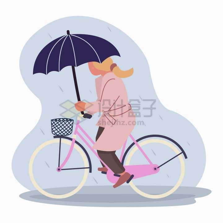 下雨天打雨伞骑自行车出行的女士png图片免抠矢量素材