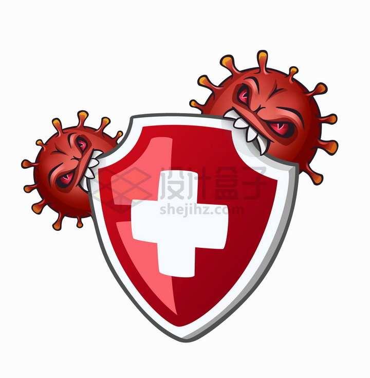 红色的卡通新型冠状病毒正在咬红十字防护盾png图片免抠矢量素材