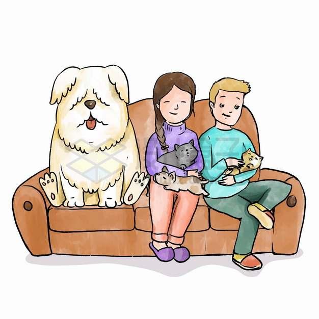 卡通情侣抱着猫咪和狗狗坐在沙发上宠物彩绘插画png图片素材