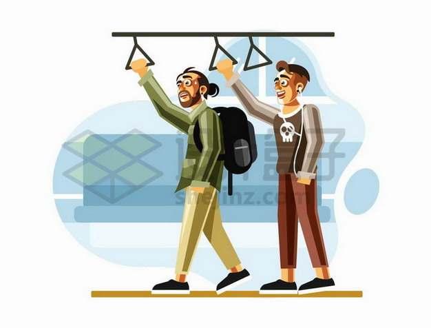 两个卡通漫画风格年轻人抓着公交车地铁抓手png图片免抠矢量素材