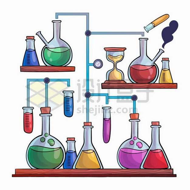手绘风格烧瓶锥形瓶试管酒精灯沙漏的化学实验仪器组合插画png图片免抠矢量素材