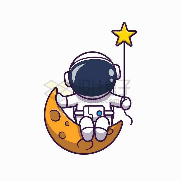 卡通宇航员坐在弯弯的月球上拿着星星气球png图片免抠矢量素材