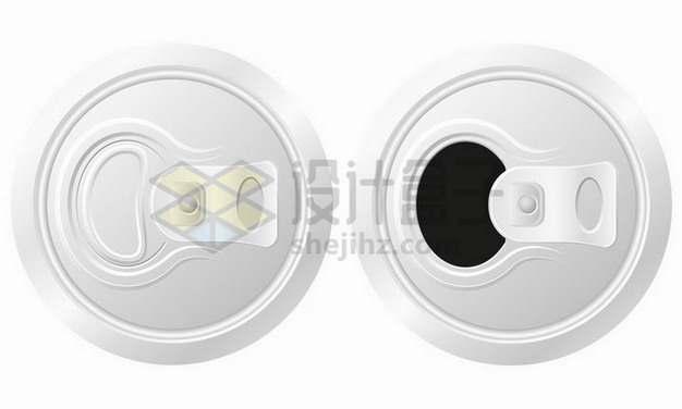 完整和打开状态的易拉罐拉环png图片免抠矢量素材