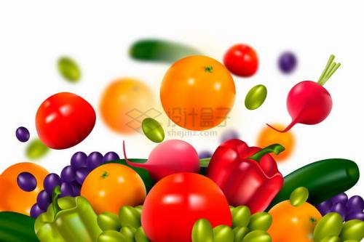掉落的逼真西红柿萝卜黄瓜葡萄等美味蔬菜水果背景png图片免抠矢量素材