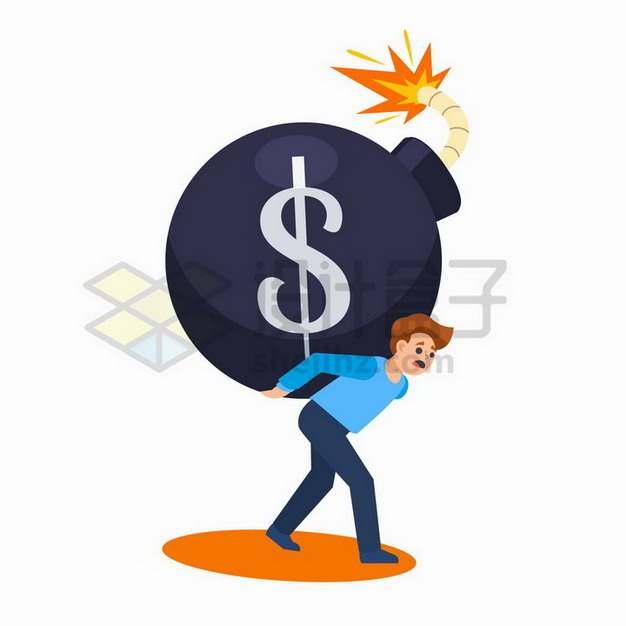 背着炸弹的商务人士象征了金融危机投资的风险png图片免抠矢量素材