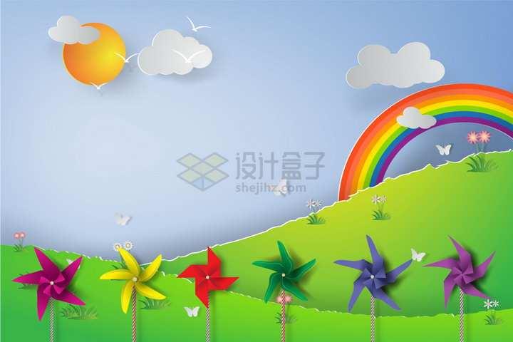创意剪纸叠加风格青草地山坡和彩色纸风车彩虹等png图片免抠矢量素材