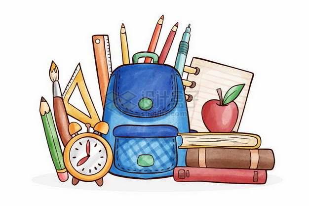 彩绘风格画笔铅笔直尺书包书本等学习用品png图片免抠矢量素材
