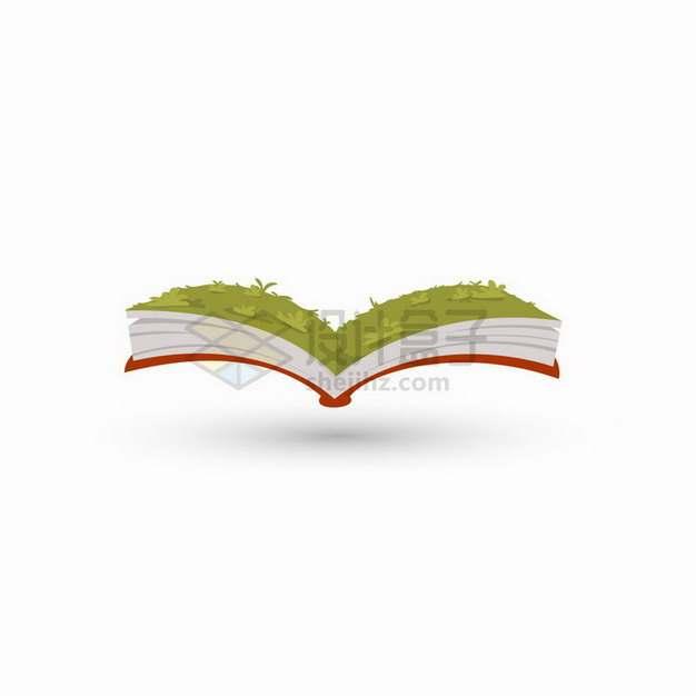 卡通打开的书本上青青草地风景图png图片免抠矢量素材