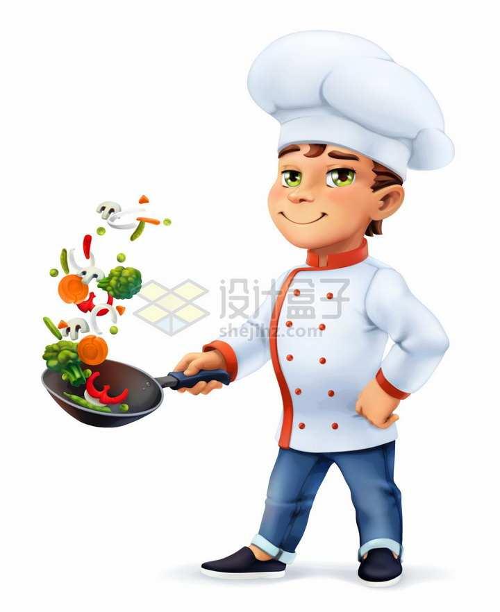 卡通厨师正在颠勺做菜png图片素材