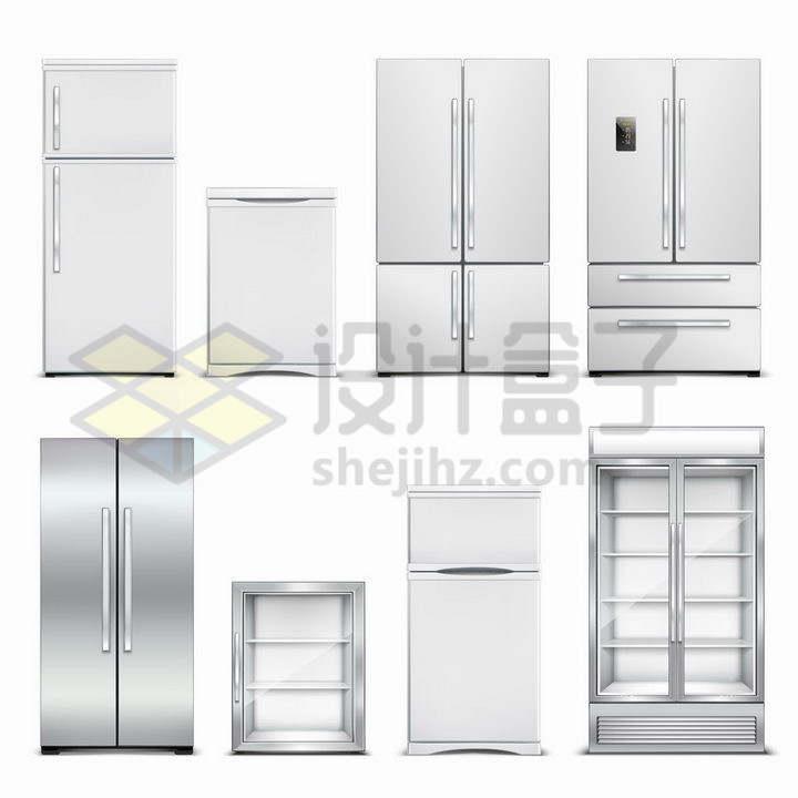 8款银色的电冰箱冰柜家用电器png图片免抠矢量素材