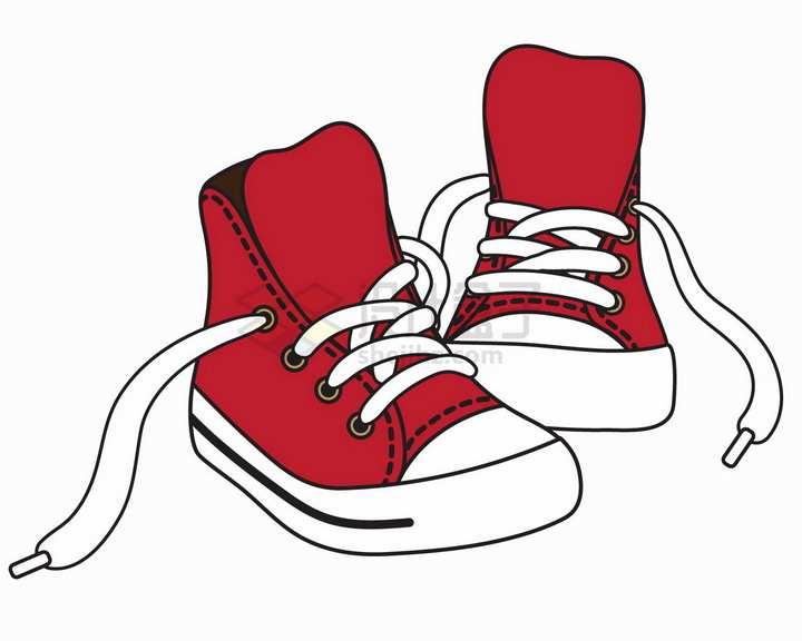 解开鞋带的红色休闲鞋平底鞋运动鞋线条彩绘插画png图片免抠矢量素材