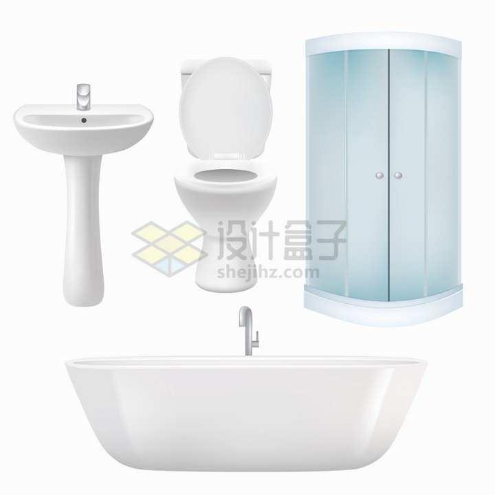 逼真的抽水马桶洗手池淋浴间和浴缸等卫生间设施png图片免抠矢量素材