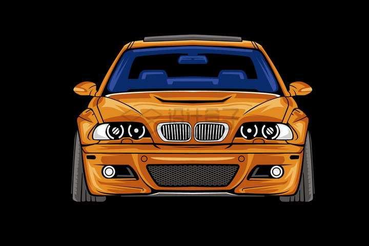 漫画风格橙色宝马汽车正面图png图片免抠矢量素材