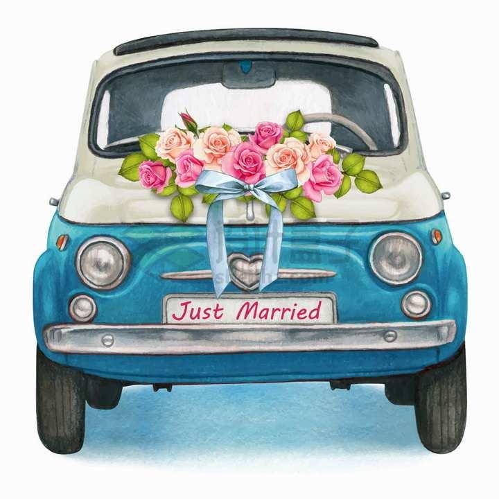 装饰鲜花的蓝色小汽车婚车结婚用车水彩插画png图片免抠矢量素材