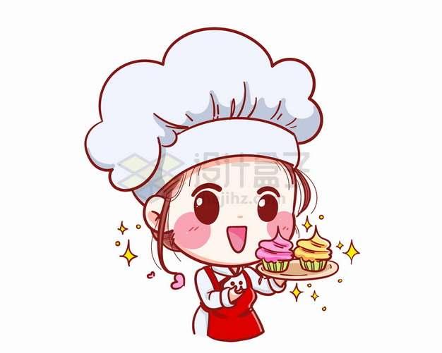卡通美女小厨师做出了美味蛋糕西餐png图片素材