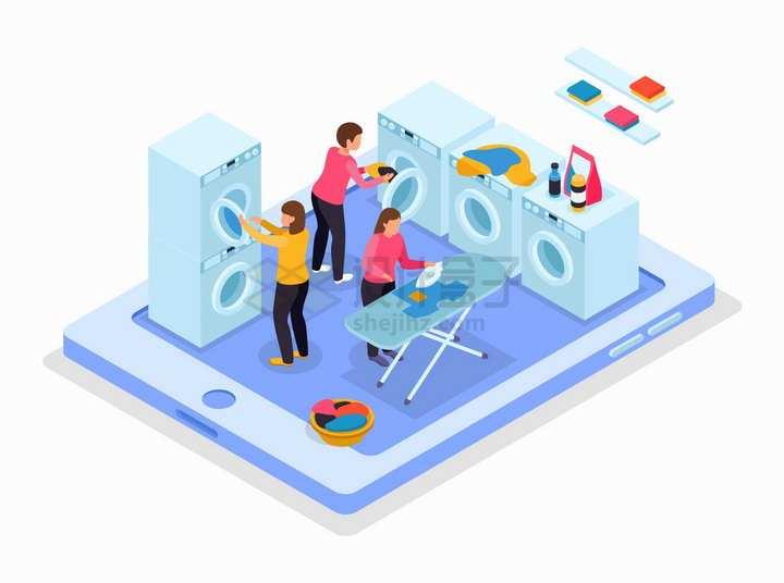 2.5D风格平板电脑上洗衣房中使用洗衣机的人png图片免抠矢量素材