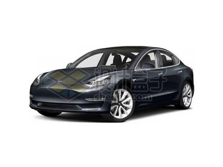 黑色特斯拉Model 3电动汽车png图片素材