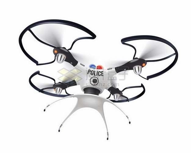 一款白色警用涂装的四轴飞行器无人机png图片免抠矢量素材
